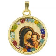 Murano Glass Millefiori Pendant - Madonna And Child