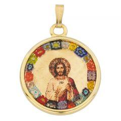 Murano Glass Millefiori Pendant - Jesus