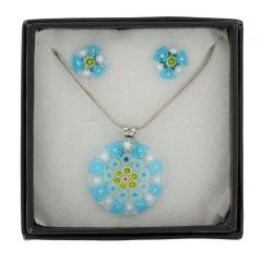 Murano Glass Millefiori Necklace and Earrings Set - Round Aqua Blue