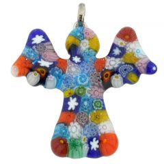 Murano Glass Millefiori Angel Pendant - Multicolor