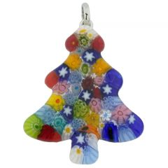 Murano Glass Millefiori Christmas Tree Pendant - Multicolor