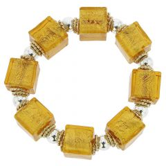 Brillio Venetian Cubes Bracelet - Golden Brown
