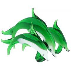 Murano Glass Dolphin Trio