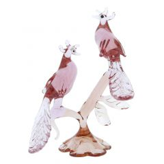 Murano Glass Peacocks On a Branch - Pink