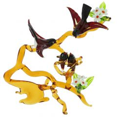 Murano Glass Birds on a Branch with Nest - Red