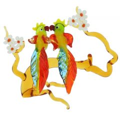 Murano Glass Parrots on a Branch
