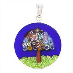 "Medium Millefiori Pendant ""Tree Of Life"" in Silver Frame 23mm"