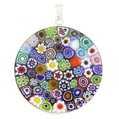 "Large Millefiori Pendant ""Multicolor"" in Silver Frame 36mm"