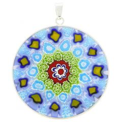 Large Millefiori Pendant in Sterling Silver Frame 36mm