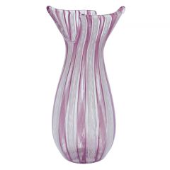 Vintage Murano Glass Pink Filigrana Basket