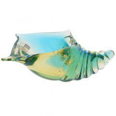 Murano Glass Cone Seashell - Amber Aqua