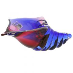 Murano Glass Cone Seashell - Rose and Blue