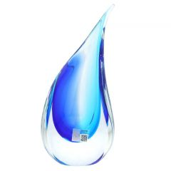 Murano Glass Medium Sommerso Wave Vase - Aqua Blue
