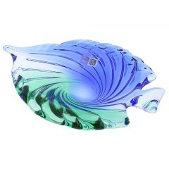 Murano Glass Sommerso Centerpiece Bowl - Green Blue