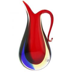 Murano Glass Sommerso Pitcher Vase - Red Blue Amber