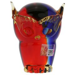 Murano Glass Owl - Red Blue Amber
