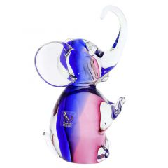 Murano Glass Elephant - Rose and Blue