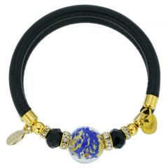 Dorato Murano Glass Leather Bracelet - Blue