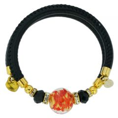Dorato Murano Glass Leather Bracelet - Red