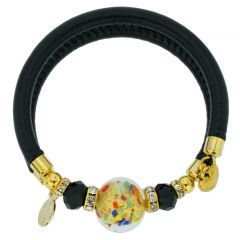 Dorato Murano Glass Leather Bracelet - Multicolor Confetti