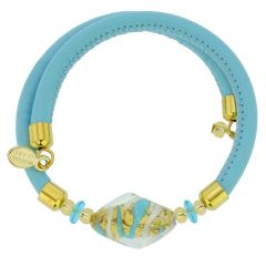 Delizia Murano Glass Leather Bracelet - Aqua Blue