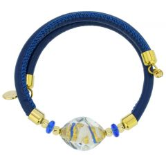 Delizia Murano Glass Leather Bracelet - Blue