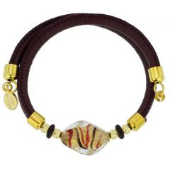 Delizia Murano Glass Leather Bracelet - Burgundy