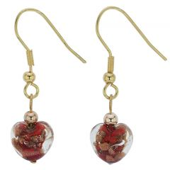 Small Murano Heart Earrings - Red Sparkles