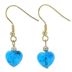 Small Murano Heart Earrings - Blue Snow