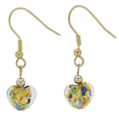 Small Murano Heart Earrings - Multicolor Confetti