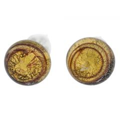 Murano Ball Stud Earrings - Gold Purple Swirl
