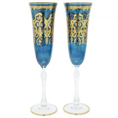 Set Of Two Murano Glass Alba Champagne Flutes - Blue