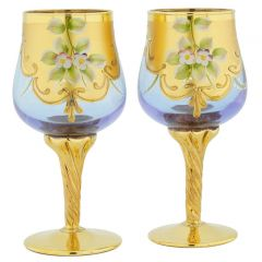 Set Of Two Murano Glass Wine Glasses 24K Gold Leaf - Alexandrite