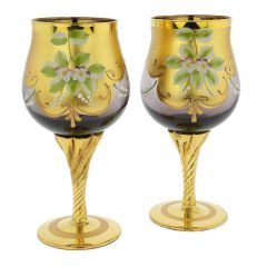 Set Of Two Murano Glass Wine Glasses 24K Gold Leaf - Purple