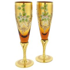Set Of Two Figaro Murano Glass Champagne Flutes 24K Gold Leaf- Golden Brown
