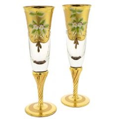 Set Of Two Murano Glass Champagne Flutes 24K Gold Leaf - Transpa