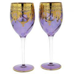 Set Of Two Murano Glass Wine Glasses - Purple
