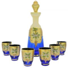 Murano Glass Decanter Set With Six Small Glasses 24K Gold Leaf - Blue