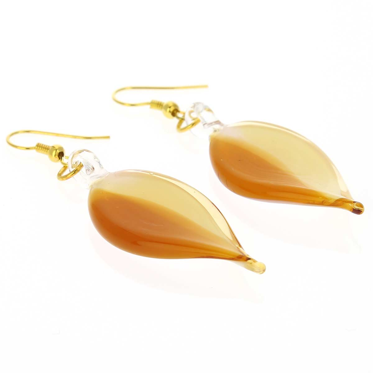 Milk and Honey leaf-shaped curved earrings