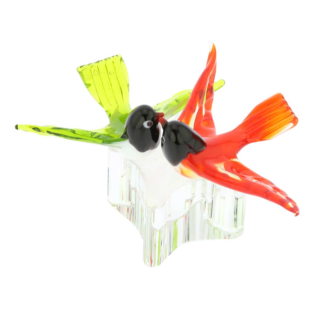 Murano Glass Love Birds - Crimson Red and Green