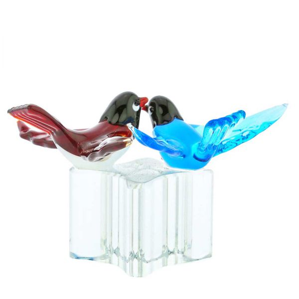 Murano Glass Love Birds - Red and Blue