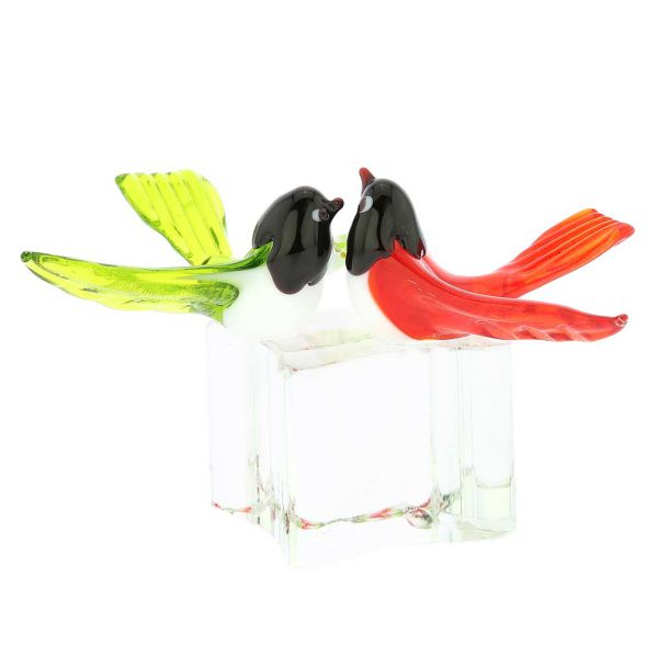 Murano Glass Love Birds - Crimson Red and Green