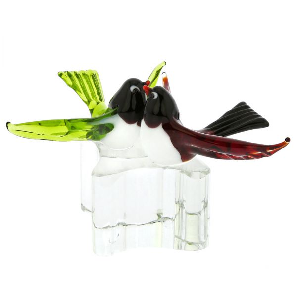 Murano Glass Love Birds - Red and Green