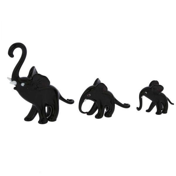 Murano Glass Elephant Family - Black