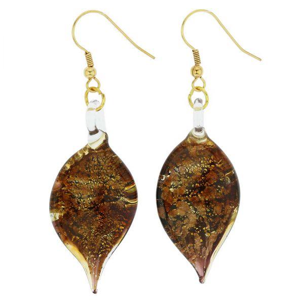 Golden Brown Sparkle Leaf-Shaped Earrings