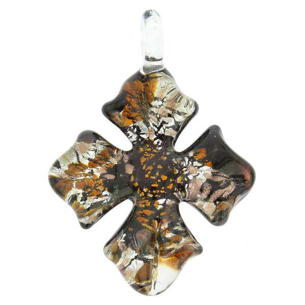 Golden Brown Sparkle Cross-Shaped Pendant