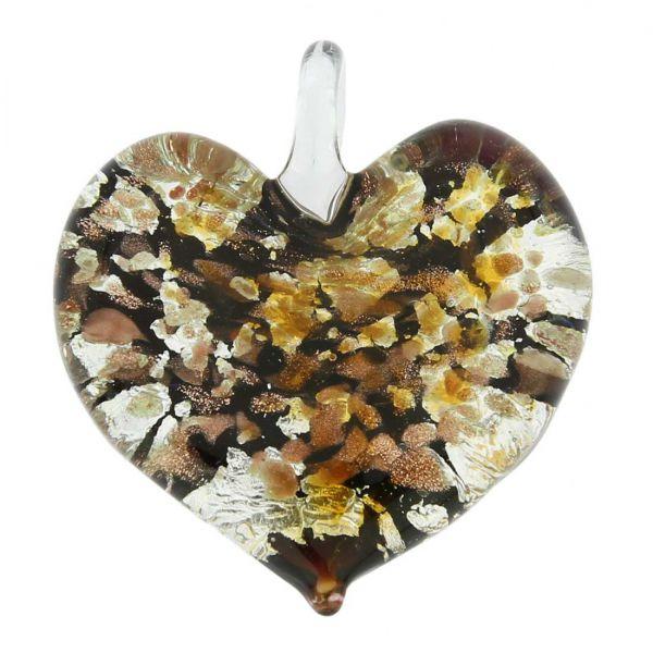 Golden Brown Sparkle Heart-Shaped Pendant