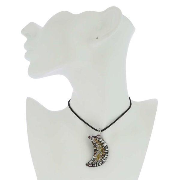 Golden Brown Sparkle Moon-Shaped Pendant