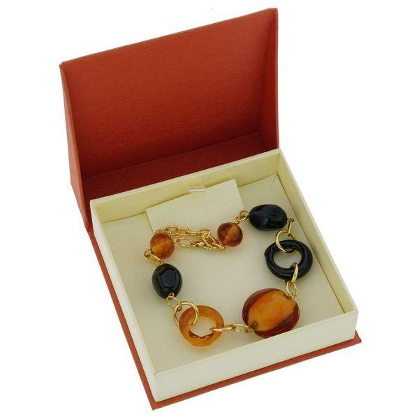 Golden Brown And Black Murano Bracelet