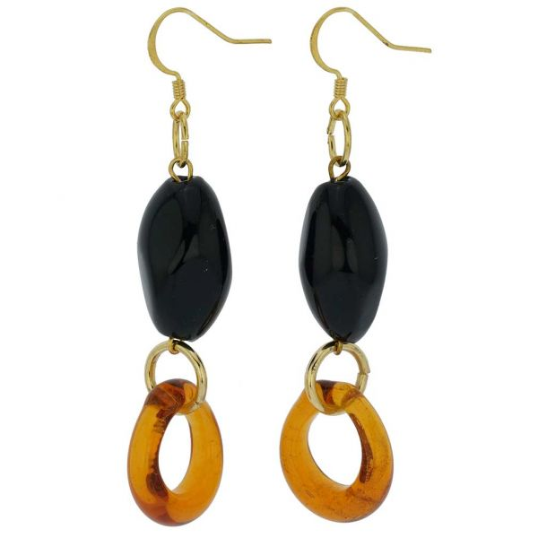 Saturn Murano Glass Earrings - Black And Golden Brown
